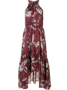 Marchesa Notte платье миди с вырезом халтер и принтом