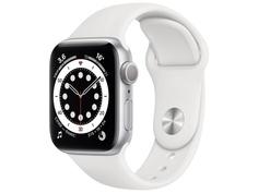 Умные часы APPLE Watch Series 6 40mm Silver Aluminium Case with White Sport Band MG283RU/A Выгодный набор + серт. 200Р!!!