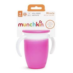 Поильник с крышкой Munchkin MIRACLE 360° непроливайка с ручками розовый 207 мл