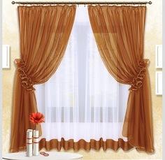 Комплект штор с тюль для кухни Nivasan Луиза коричневый