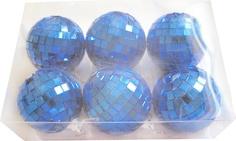 """Набор елочных украшений """"Зеркальный шар"""", 5 см, цвет синий, 6 штук Веселый хоровод"""