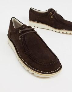 Темно-коричневые замшевые туфли-дерби в стиле casual Kickers kick wall Lo-Коричневый