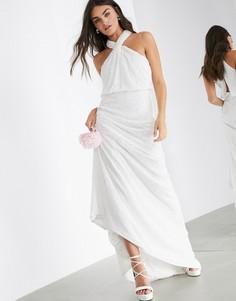 Свадебное платье с халтером и пайетками ASOS EDITION-Белый