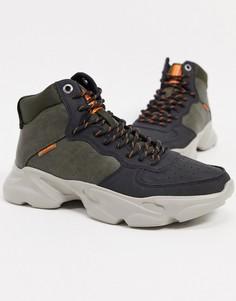 Оливково-черные походные ботинки Jack & Jones-Черный