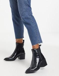 Черные ботинки на каблуке с эффектом крокодиловой кожи Steve Madden-Черный