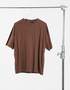 Футболка в стиле oversized коричневого цвета ASOS DESIGN-Коричневый