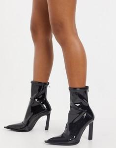 Лакированные ботинки на каблуке с увеличенным рантом ASOS DESIGN Erik-Черный