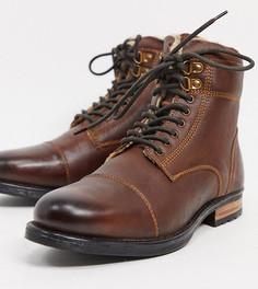 Коричневые кожаные ботинки для широкой стопы на шнуровке с подкладкой из искусственного меха Silver Street-Коричневый