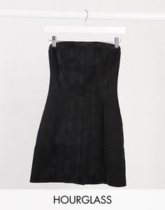 Черное с выбеленным эффектом джинсовое платье мини с декоративными швами ASOS DESIGN Hourglass-Черный