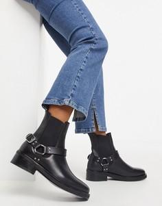 Черные кожаные ботинки с ремешками в стиле ботинок для верховой езды AllSaints Salmone-Черный