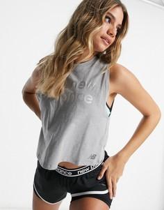 Серая короткая майка в свободном стиле с логотипом New Balance Running-Серый