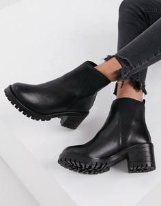 Черные кожаные ботинки челси на каблуке Rule London-Черный