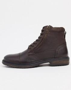Коричневые кожаные ботинки на шнуровке с молнией сбоку Silver Street-Коричневый