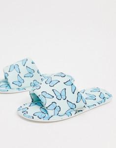 Синие слиперы с принтом бабочек Skinnydip-Голубой