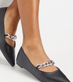 Черные туфли из эко-кожи на плоской подошве с массивной цепочкой Z_Code_Z Exclusive Aisa-Черный