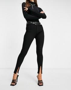 Черные зауженные джинсы с разрезами спереди Femme Luxe-Черный