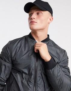 Черная куртка-бомбер в клетку New Look-Черный