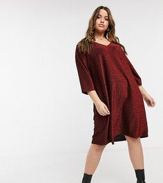 Короткое приталенное платье красного цвета с эффектом металлик Junarose-Красный