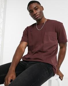 Коричневая oversize-футболка с тканым карманом Topman-Коричневый