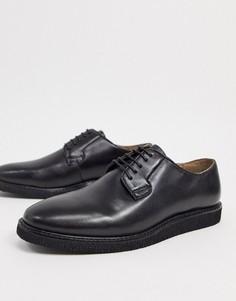 Черные кожаные туфли дерби на шнуровке Walk London Del-Черный