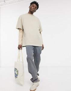 Темные выбеленные широкие джинсы в винтажном стиле ASOS DESIGN-Голубой
