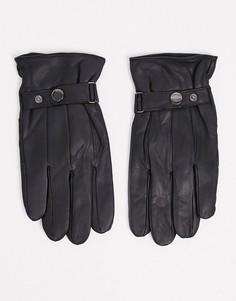 Черные кожаные перчатки для сенсорных гаджетов Barneys Original-Черный