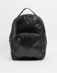 Черный рюкзак из кожи с естественной лицевой поверхностью Bolongaro Trevor