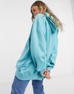 Oversized-худи бирюзового цвета Bershka-Голубой