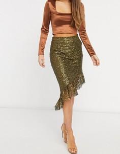 Золотистая юбка с пайетками и ассиметричным краем Elvi-Золотистый