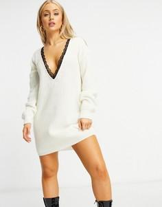Белое вязаное платье-джемпер с V-образным кружевным вырезом I Saw It First-Белый
