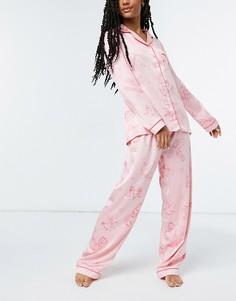 Розовая атласная пижама с отложным воротником и принтом знаков зодиака Chelsea Peers premium-Розовый