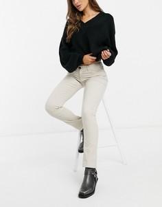 Кремовые зауженные вельветовые брюки с завышенной талией JDY Era-Бежевый