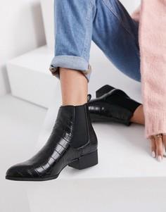 Черные ботинки челси из искусственной кожи Monki Ofelia-Черный