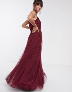 Темно-бордовое плиссированное платье макси из тюля на бретельках ASOS DESIGN-Красный