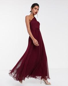 Темно-бордовое платье макси на одно плечо из тюля с проволочной отделкой по краю ASOS DESIGN-Красный