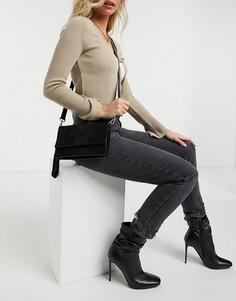 Черная кожаная сумка с крокодиловым принтом Urbancode-Черный
