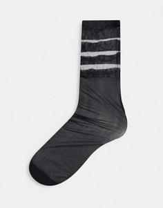 Черные носки в полоску на щиколотке Pretty Polly-Черный