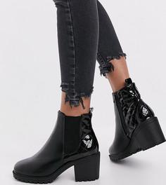 Черные ботинки челси на каблуке со стеганой вставкой сзади New Look Wide Fit-Черный