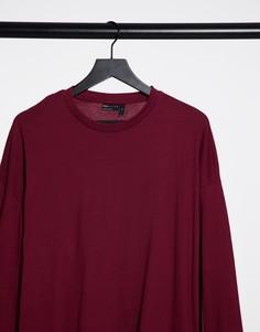 Бордовая футболка в стиле oversized с длинными рукавами ASOS DESIGN-Красный