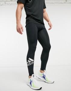 Черные спортивные леггинсы с логотипом adidas Training-Черный