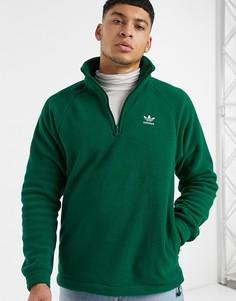 Зеленый флисовый свитшот на молнии 1/4 adidas Originals
