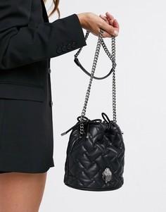 Черная кожаная сумка-кисет Kurt Geiger London Kensington-Черный