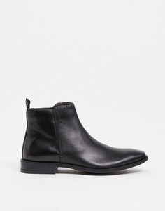 Черные кожаные ботинки на плоской подошве с молнией по внутреннему шву Silver Street-Черный
