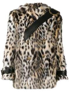 Versace двубортная шуба из искусственного меха с леопардовым принтом