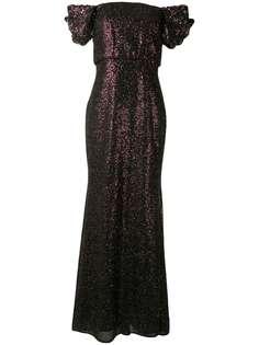 Badgley Mischka вечернее платье с открытыми плечами и пайетками