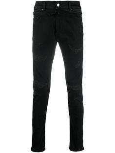 Represent джинсы скинни с прорезями и завышенной талией