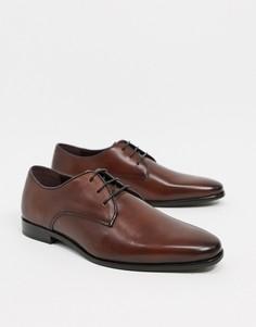 Коричневые кожаные туфли дерби на шнуровке Walk London Alfie-Коричневый