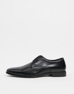 Черные кожаные туфли дерби на шнуровке Walk London Alfie-Черный
