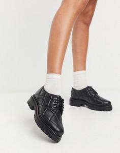 Черные кожаные стеганые броги ASOS DESIGN Muse-Черный