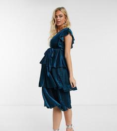 Бархатное многоярусное платье миди сине-бирюзового цвета в полоску Little Mistress Maternity-Зеленый